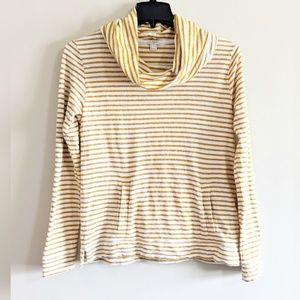 J.Crew   Yellow Striped Wide Turtleneck Sweater